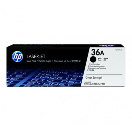HP 36A 2 pack Black Original LaserJet Toner Cartridges